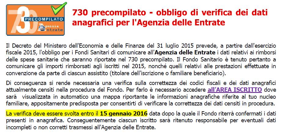Fondo sanitario integrativo for Agenzia delle entrate 730 precompilato accesso